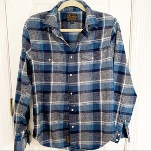 Lucky Brand Blue Plaid Western Flannel Shirt NWOT